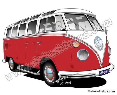 VW bus tekeningen collectie - Doka Driekus