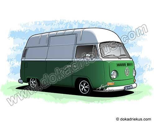 VW bus tekening van een VW T2 hoogdak bestelbus.