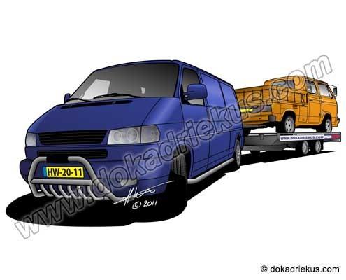 VW T4 met T3 op aanhanger