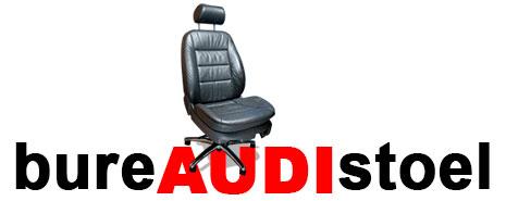 Een oude Audi leren autostoel ombouwen naar bureaustoel